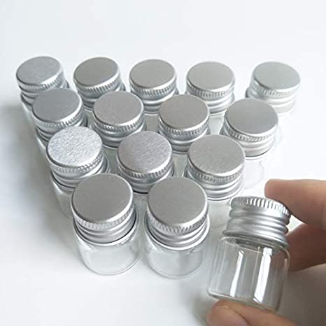 20Pcs Sample Vials Clear Glass Bottles With Aluminum Caps Jars Small Bottle Craf