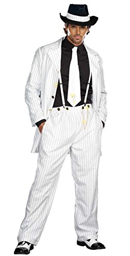 Dreamgirl Men's Zoot Suit Riot Costume, White/Black, (Gold Zoot Suit Chain)