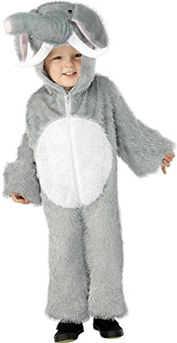 Smiffy's Children's Unisex All In One Elephant Costume, Jumpsuit with Tail and Trunk, Party Animals, Color: Grey, 30788