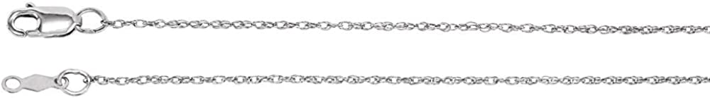 Length Options 16 18 20 24 14k White Gold Necklace 1mm Rope Chain With Lobster Clasp