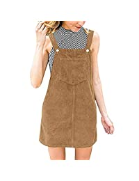 HHmei Women's Cotton Corduroy Straight Dresses, Overall Pinafore Casual Pocket
