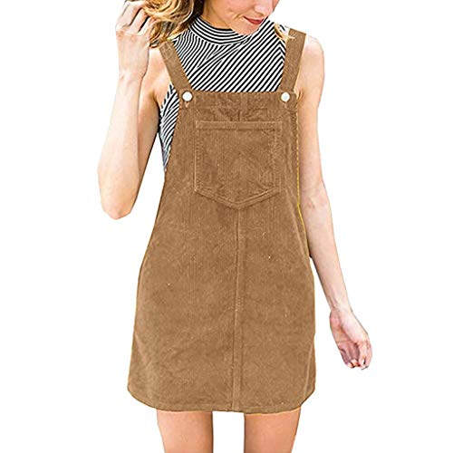 Aniywn Womens Casual Strap A-Line Corduroy Skirt Mini Bib Overall Pinafore Mini Dress with Pocket Brown