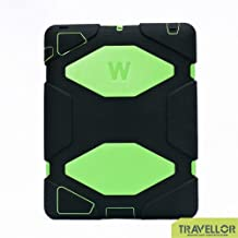 iPad 2, iPad 3, iPad 4 Case, Travellor® [Shockproof] [Heavy Duty] [Military] Extreme Tough & Drop Resistance Soft Silicone Case with Kickstand for Apple iPad 2/3/4. (Whistle + Stylus Pen + Carabiner) (Black-Green)