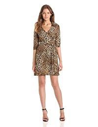 Star Vixen Women's Three-Quarter-Sleeve Faux Wrap Dress