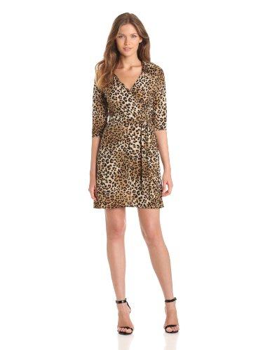 Leopard Wrap Dress (Star Vixen Women's 3/4 Sleeve Faux Wrap Dress, Brown Small Leopard,)
