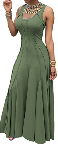 Imily Bela Women's Sleeveless Pleated Swing Maxi Cocktail Dress Floor Length (Large, Green)