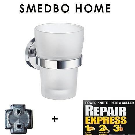 Smedbo Home vaso para cepillo de dientes con mate cristal HK343 sin agujeros. PEGAR SOLO: Amazon.es: Bricolaje y herramientas