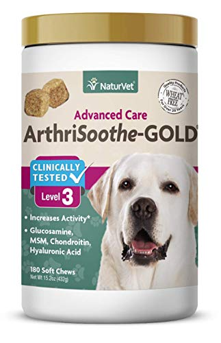 NaturVet - ArthriSoothe-Gold - Level 3 Advanced Joint Care | Supports Connective Tissue, Cartilage Health & Joint Movement | Glucosamine, MSM, Chondroitin & Green Lipped Mussel (180 Soft Chews) ()