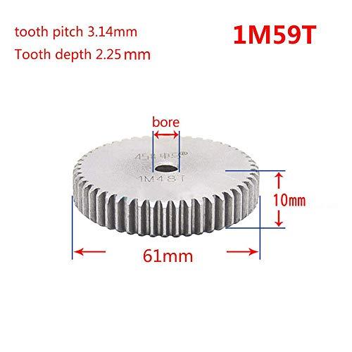 Spur 59t - 1 Mod Pinion Gear 59T Spur Gear 45# Steel Motor Pinion Gear Thickness 10mm x1Pcs (1Mod 59T)