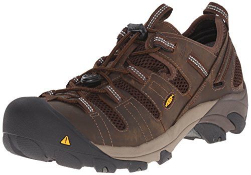 KEEN Utility Men's Atlanta Cool Soft Toe ESD Work Boot, Cascade Brown/Forest Night, 9 2E US