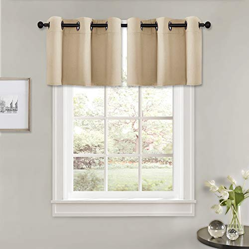PONY DANCE Window Curtain Valances - (42 by 18 Inch, Biscotti Beige, Set of 2) Modern Home Decorative Blinds Light Filter Window Tiers Short for Basement Kitchen Cafe Bar