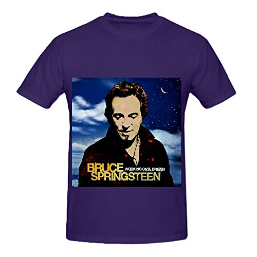 Bruce Springsteen Working On A Dream Pop Album Cover Men Crew Neck Slim Fit T Shirts Purple