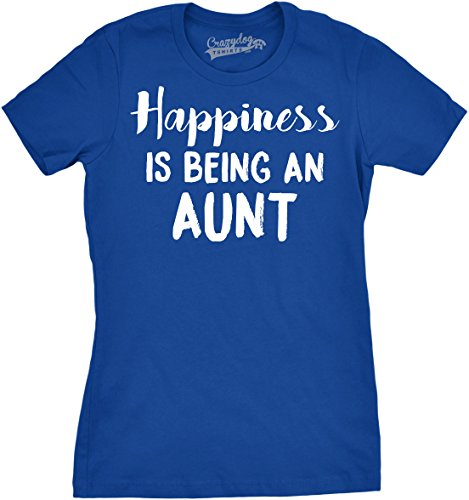 Crazy Dog TShirts - Womens Happiness Is Being an Aunt Funny Family Relationship T shirt - Camiseta Para Mujer Azul