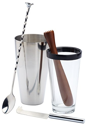(BarCraft 4-Piece Stainless Steel, Glass and Wood Mojito Cocktail Set )