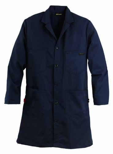 Workrite FR Flame Resistant 6 oz Nomex IIIA Lab Coat, Large, Regular Length, Navy Blue ()