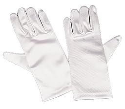 Girls White Satin Gloves Medium (4-7)