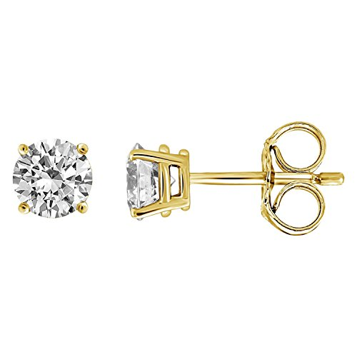 IGI Certified Diamond Stud Earrings for Women Set in 14K Gold(1/4ctw Yellow) by Diamond Hub
