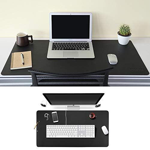 BUBM Large Office Desk Mat Leather Blotters Gaming Mouse Pad with Smooth Surface, 35 x 18, Black (bgzd-l01)