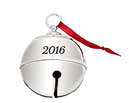 "James Scott 2016 Silver-plated Engraved Christmas Holiday Jingle Bell Ornament, Sleigh Bell, Engraveable - Size 3"" x 3"" in. With Red Tie Ribbon"