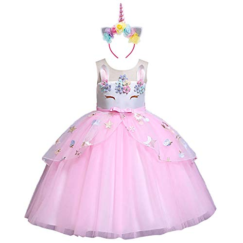 Flower Girls Kids Unicorn Costume Birthday Cake Smash Outfits Cosplay Princess Dress up Rainbow Tulle Pageant Fancy Party Wedding Long Prom Dance Evening Gown with Headband #Pink 6-7 Years