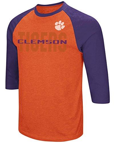 Colosseum Clemson Tigers NCAA Steal Home Men's Dual Blend 3/4 Sleeve T-Shirt