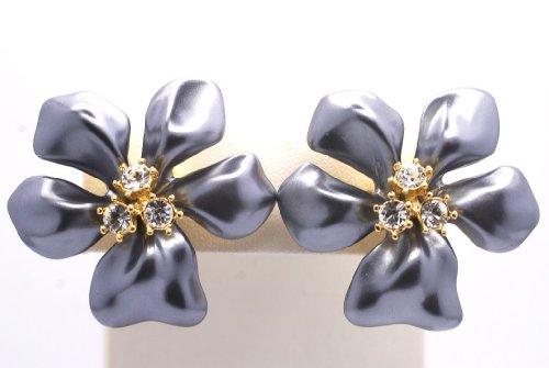 Kenneth Jay Lane White Pearl Flower & Crystal Clip Earring