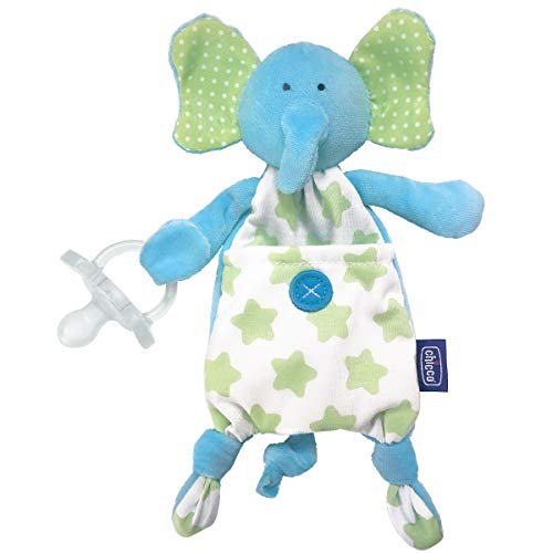 Chicco Pocket Buddies Soft Pacifier Holder-Lovey, Soothing Plush Toy Animal 0m+, Elephant ()