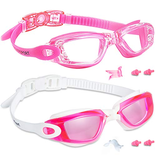 EverSport Kids Swim Goggles 2 Pack, Rosered & Pink, Swimming Goggles for Teenagers, Anti-Fog Anti-UV Youth Swimming Glasses, Leakproof, Free Ear Plugs, one Touch Open Straps, for 4-15 Y/O