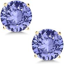 14K Yellow Gold Blue Tanzanite Stud Earrings 0.92 Ctw Round 5MM