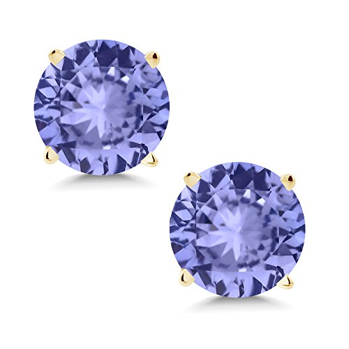 Gem Stone King 1.80 Ct Round 6mm Blue Tanzanite 14K Yellow Gold Stud Earrings