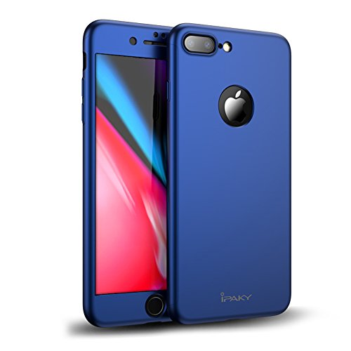 Protector Cover Blue Case (iPhone 7 Plus Case, Rebex & Ipaky All-around Protective Cover [Non-Slip] Dual Layer Hard Case With Tempered Glass Screen Protector For iPhone 7 Plus (Blue))