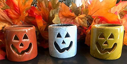Sunstar Set of 3 Ceramic Happy Pumpkins Votive Tealight Candle Holders w Metal Handle in 3 Beautiful Fall Colors]()