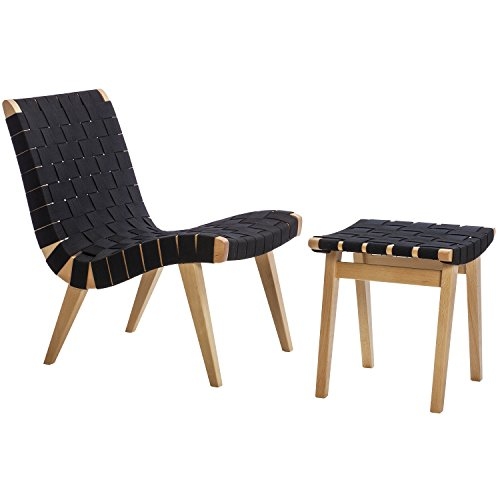 Design Tree Home Knoll Risom Lounge Chair, Midcentury Modern, Wooden Legs, Cotton Seating (Black) Black Accent Side Chair for Living Room Retro Midcentury Modern Rustic Woven Style Designer (Knoll Lounge)