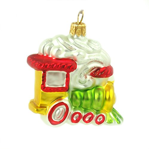 Christmas Ornament Train, Mini Locomotive Traditional Glass Christmas Tree Ornament Handmade in Poland