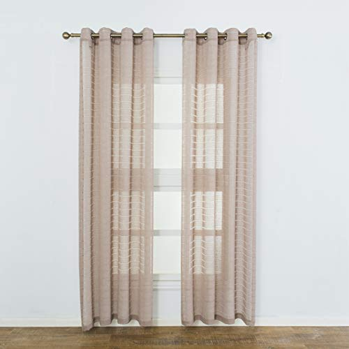(Aquazolax Grommet Striped Semi Sheer Curtain Panels Linen Voile Window Curtains Drapery Privacy for Bathroom Nursery, 1 Pair, 52W x 84L, Coffee)