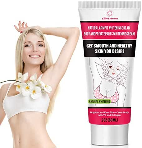 Underarm Whitening Cream, Natural Skin Bleaching Cream with Vitamin C Effective for Lightening & Brightening Armpit, Knees, Elbows Neck, Dark Spots, Private Areas, Whitens, Nourishes, Repairs Skin 60g