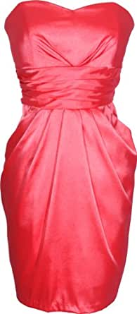 Strapless Satin Bridesmaid Dress LBD With Pockets, Small, Coral