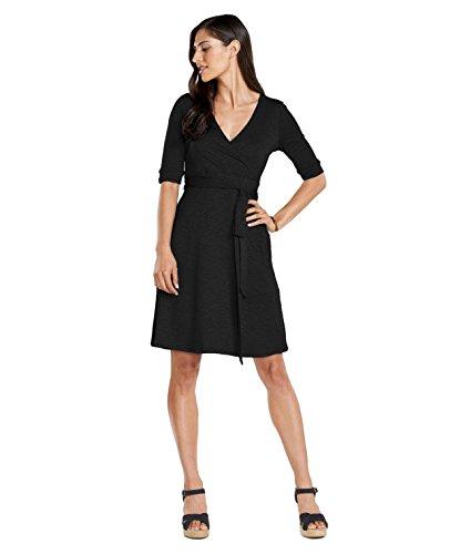 Toad&Co Cue Wrap Cafe Dress - Women's Black Small Black Jersey Wrap Dress