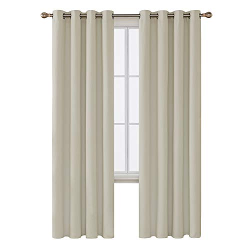 Deconovo Grommet Blackout Curtains Room Darkening Thermal Insulated Curtains for Sliding Glass Door 52x96 Inch Light Beige Set of 2 Panels