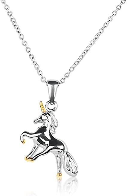 New in Gift Box Beautiful Black Unicorn Pendant 14kt Gold-Plated Necklace