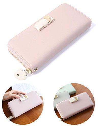 Women Fashion PU Leather Wallet Zip Around Purse Long Handbag (Pink) - 5