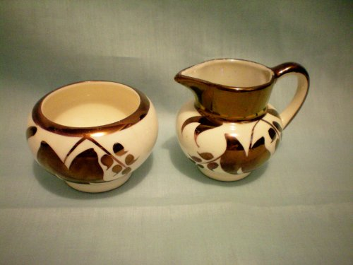 Miniature Sugar and Creamer -- Lancaster and Sandland Ltd Hanley England -- 697 L on Cream Pitcher L on Sugar -- 2 3/8