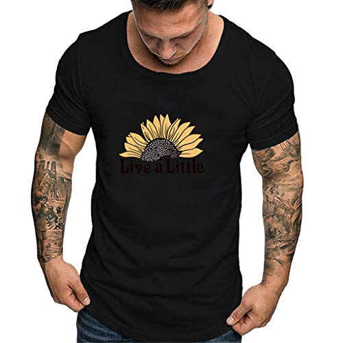 Mote Mens Clothes, MmNote Round Neck Sun Flower Text Print Modern Fit Quick-Dry Short Sleeve Black