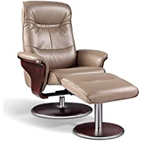 Artiva USA Milano Modern Bendwood Brown Leather Swivel Recliner with Ottoman, Latte