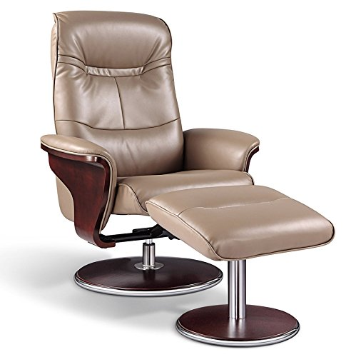 ARTIVA USA Milano Modern Bendwood Brown Leather Swivel Re...