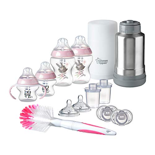 Tommee Tippee Closer to Nature Newborn Baby Feeding Starter Set - Pink, Girl