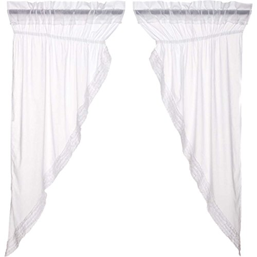 VHC Brands White Ruffled Sheer 8607 Prairie Curtain -