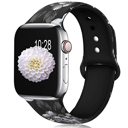 (KOLEK Bands Compatible with Apple Watch Series 4/3/2/1 42mm 44mm, Flower Bands Compatible for iWatch for Women/Men, M/L)