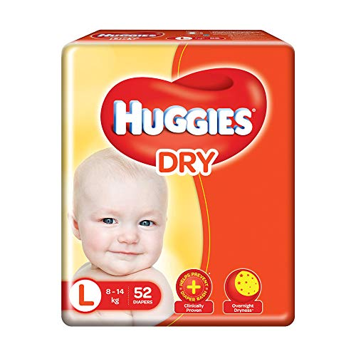 Huggies New Dry Pants, Large  L  Size Baby Diaper Pants, 52 count