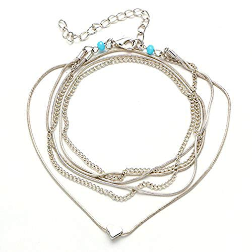 FineMe Starfish Turtle Anklets Multiple Layered Boho Gold Chain Anklet Heart Beach Rhinestones Silver|Turquoise Stone Charm Anklet